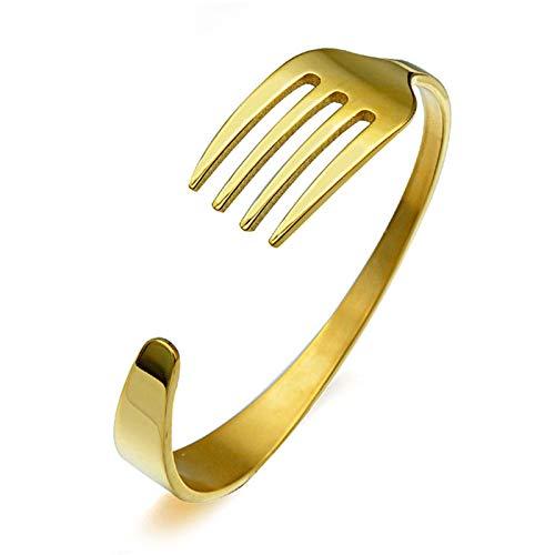 Pulsera De Tenedor Para Cubiertos, Acero inoxidable Brazalete Tenedor para hombres mujeres Regalo de joyería (Gold)