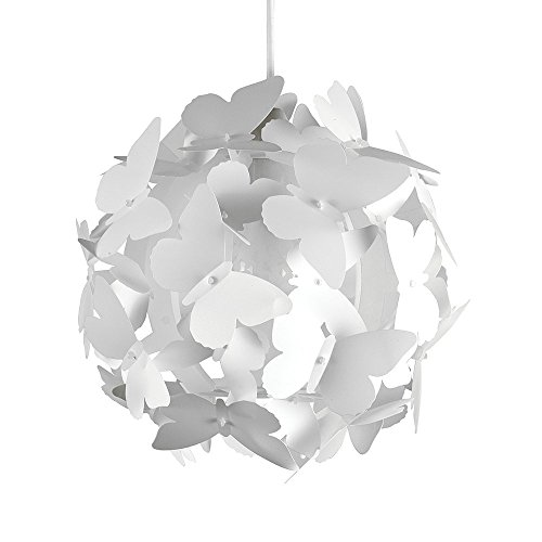 MiniSun - paralume bello e moderno con motivo di farfalle bianche – per lampada a sospensione