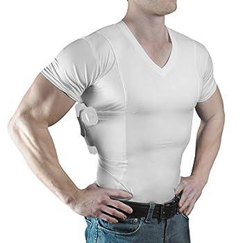 ConcealmentClothes Men's V-Neck Undercover- Concealed Carry Holster Shirt  X-Large White