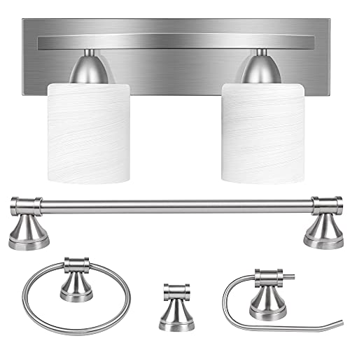 2-Light Bathroom Vanity Light Fixture, 5 Piece All-in-One Bath Sets, Bar, Towel Ring, Robe Hook, Toilet Paper Holder, Brushed Nickel with White Frosted Glass Vanity Light by PARTPHONER