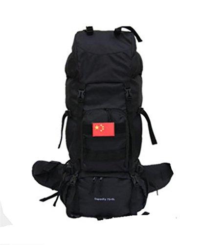 Cryptage Oxford chiffon Outdoor camping 75L sac à dos sac sacs de grande capacité à dos de randonnée , black