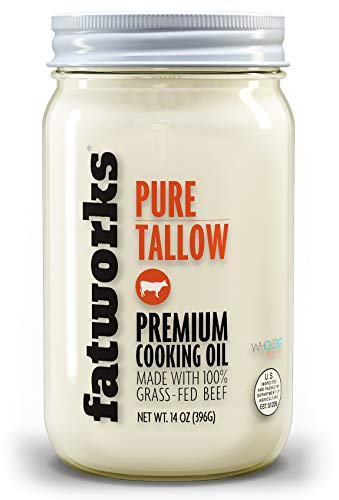 Fatworks Premium 100% Grass Fed, Pasture Raised Beef Tallow, Artisanally Rendered, WHOLE30 Approved, KETO, PALEO, 14 oz.