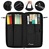 Donner Drumsticks Bag, Large Capacity Drum Sticks Bag Portable Drumstick Bags for Drumsticks, Drum Key, Drum Wire Brushes, Resonance Pad and Mallets (Black)