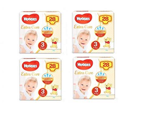 HUGGIES Pannolini Extra Care, Taglia 3 (4-9 Kg), Confezione da 112 Pannolini (4 x 28)