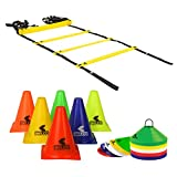 BELCO SPORTS PVC Cones, Pack 6, 10 Space Markers and Ladder Agility, 4 Meter Combos (Multicolour, 6 Inch)