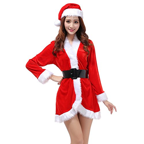 Tinksky 3Pcs Womens Santa Claus Christmas Costume Cosplay XMAS, Red, Size 76cm