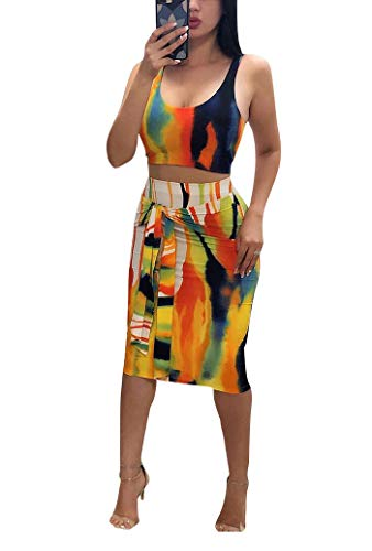 Remelon Womens Sexy Sleeveless Stripe Tie Dye Print Tank Crop Top Bodycon Tie Skirts Set 2 Piece Midi Dress Outfits Yellow XL
