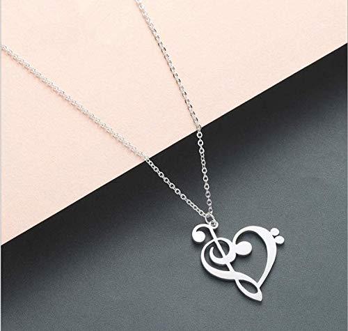 Collar Colgante De Acero Inoxidable 1pc Nota con Corazón del Collar Pendiente del Encanto del De Agudos Clefs Pendientes De Mujeres Infinity