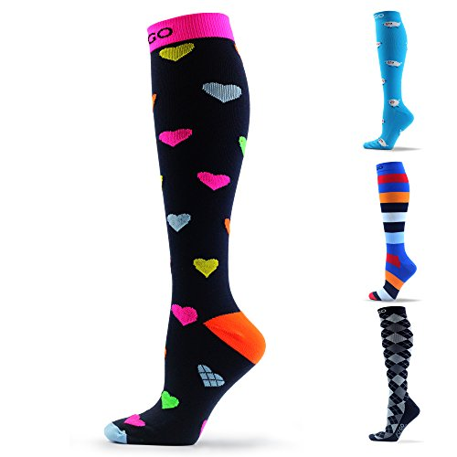 AZGO 20-30mmHg Compression Socks for Women and Men - Graduated Support Ideal for Running, Nurses, Flight Travel & Maternity Pregnancy. Moderated Edema, Pain & Swelling - Best Athletic Medical Gifts!