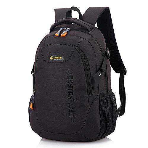 Wayamiaow Lichte rugzak van canvas voor reizen, modieuze rugzak, merk student laptoptas met hoge capaciteit, Zwart