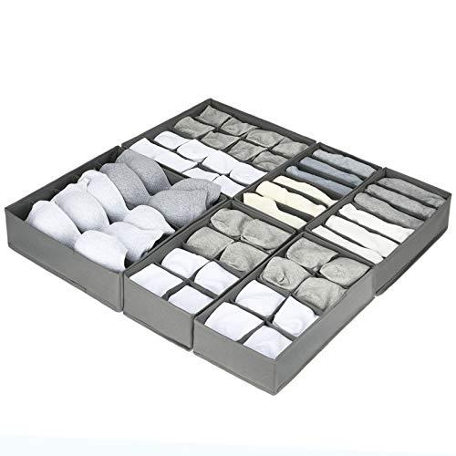 6er Set Oxford Stoff Kleiderschrank Organizer Unterwäsche Organizer Box mit Verbreitert Zelle , Faltbar Schubladen Ordnungssystem kleiderschrank Unterwäsche Aufbewahrungsbox BH Socken , Grau , Highkit