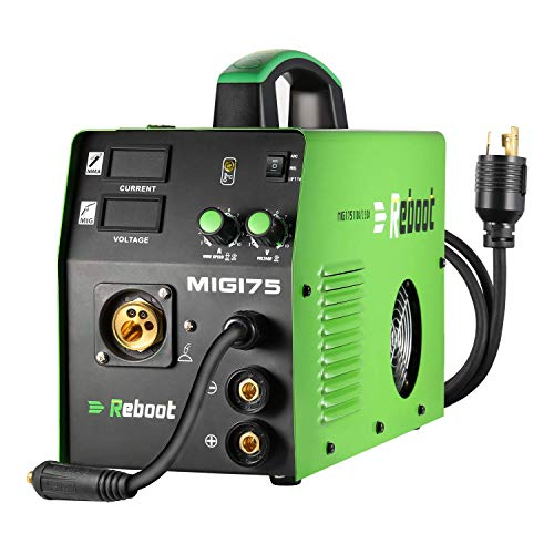 Mig Welder Flux Core Gas/Gasless Lift Tig Dual Voltage MIG175 MIG Welding Machine 110V/220V Wire Automatic Feed 3 in1 Gas and Gasless High Duty Cycle Stick Welder 2.2/11LBs IGBT Inverter Welder