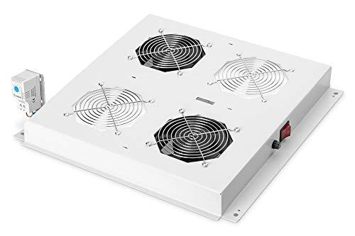 Unidad de ventilador de techo DIGITUS para armario de red (Dynamic Basic / Unique) y armario de servidores (Dynamic Basic), 2 ventiladores, termostato, gris (RAL 7035)