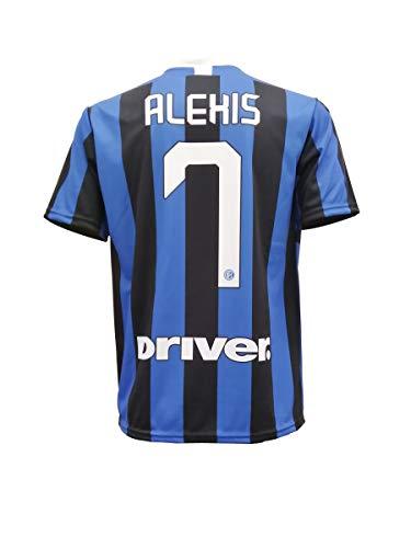 L.C. SPORT SRL T-Shirt Fußball Alexis Sanchez 7 F.C. Inter Internazionale Serie A Blau Schwarz Trikot Saison 2019-2020 Replica OFFIZIELLE mit Lizenz - Alle Größen Kinder und Erwachsene (10 Jahre)