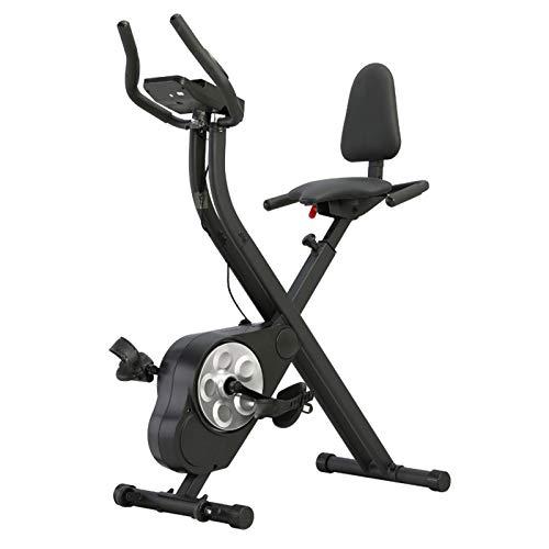 Bicicleta ejercicio casera X-Bike Ejercicio aeróbico plegable Coche Magnético Tranquilo Bicicleta ciclismo Con respaldo cojín asiento cómodo Entrenador brazos y entrenador piernas-Negro 57*50*146cm
