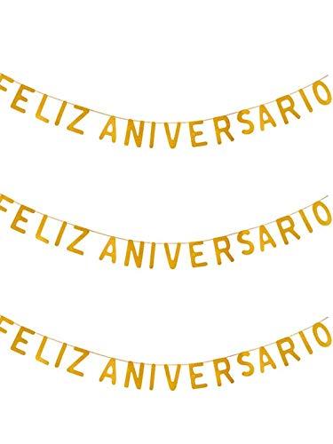 DISBACANAL Guirnalda Feliz Aniversario - Plata, Unica
