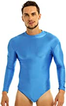 CHICTRY Men's Long Sleeve Stand Collar Stretch Swimsuit Leotard Thong Bodysuit Light Blue Medium