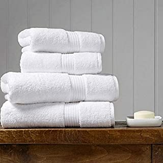 Set of 4 white bath towels (2 big size bath towels and 2 medium size hand towels) luxurious Spa and 5 star hotel quality, ...