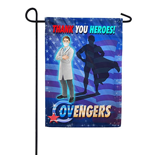 America Forever Flags Double Sided Garden Flag - Covenger- The Newest Super Hero! - 12.5' x 18', Thank You Healthcare Workers, Fight Against Covid-19 Coronavirus Pandemic Flag, Yard Outdoor Décor