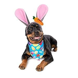 Vehomy Dog Easter Bunny Ears Headband with Carrot Pet Rabbit Ears Headwear Reversible Dog Easter Egg Bandana Triangle Bib Scarf for Pet Dog Cat Easter Rabbit Costume for Dogs 2Pack
