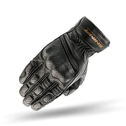 SHIMA Aviator Herren Leder Motorradhandschuhe Custom Sommer Motorrad handschuhe (S-XXL, Schwarz), Größe XL