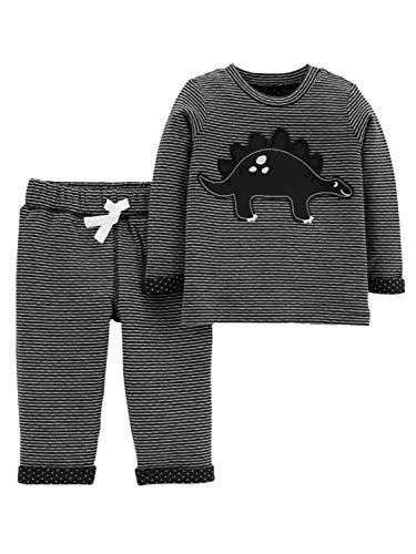 Conjunto de 3 Peças Carter's para Meninos Bebê Moleton Inverno (18 meses, Dinossauro Preto C/Branco)