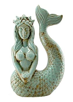 Mermaid Statue Antique Aqua Blue
