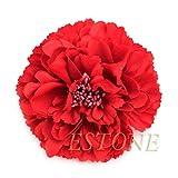 YoungerY 1pcs Grandes Flores de peonía Artificial alfileres de Pelo Broche con Pinzas de Pelo de aleación Moda Vino Rojo