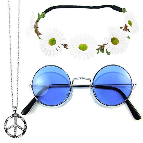 Das Kostümland Hippie Set 3-tlg. - Margeriten Haarband, Peace Kette und Lennon Brille - Blau