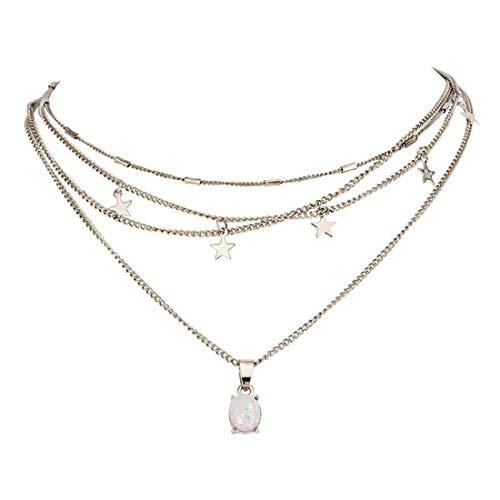 Yingwei VWH Bohemian Women Pentagram Star Gems Geometry Tassel Pendant Chain Necklace Classic Girl Multilayer Clavicle Necklace Set