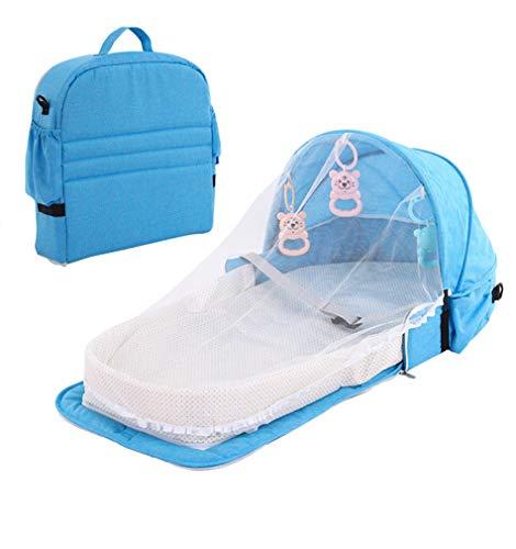 chaochao Cuna Portátil Plegable Cuna de Viaje para Bebé Recién Nacido Tumbona para Bebé con Mosquitera Cama Bebé Portable con Juguetes para Dormir (Azul, 92x46x14cm)
