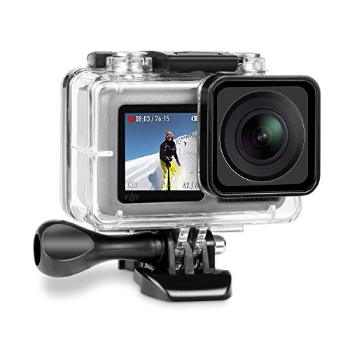 iTrunk Wasserresistente Schutzhülle Gehäuse Kompatibel für DJI OSMO Action Kamera Schwarz mit Schnellmontage Klammer zubehör für DJI OSMO Action Kamera
