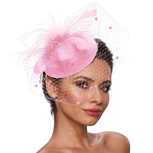 Fascinator Hats for Women Tea Party Pillbox Hat with Veil Headband Church Hats Vintage Hat 20s Accessories for Women