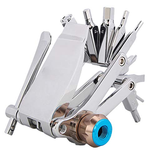 Bicycle Repair Kit All-in-one Bicycle Tool Kit with Chain Breaker Miniature Inflator Tool Repair Kit Wrench Screwdriver Chain Clip Steel Multi-Tool (Silver)