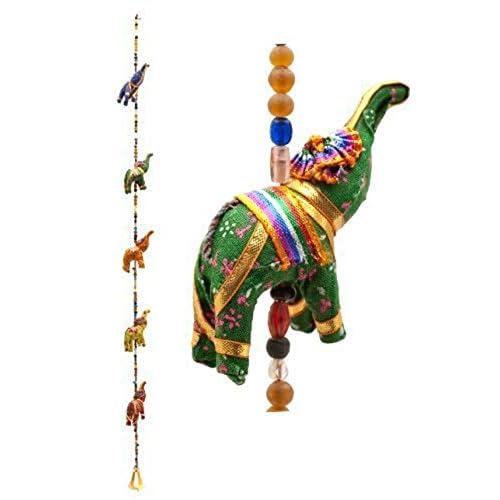 Rastogi Handicrafts Indian Fabric Hanging Elephants String