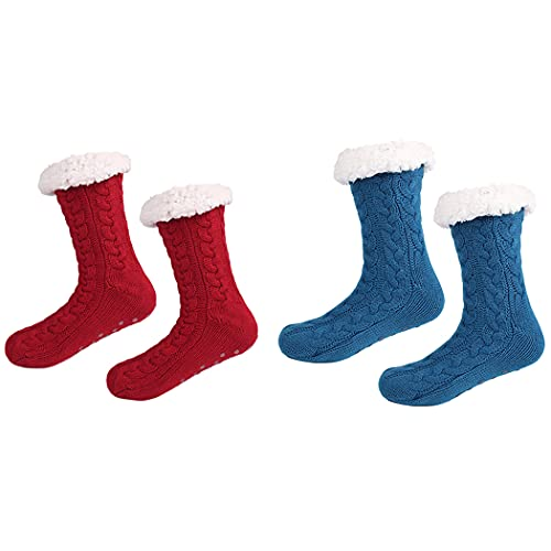 Licogel Novelty Casual Fashion Breathable Ladies Girls Lady Girl Slipper Socks Thick Fluffy 2 Pairs Lounge Cozy Novelty Soft