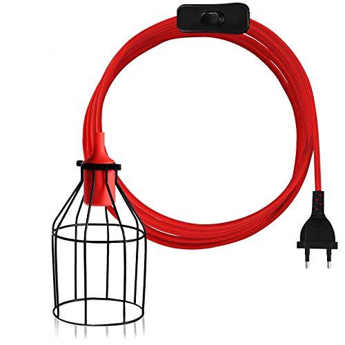 LEDGLE Portalámparas Colgante de Cable de Cuerda(15 pies), Soporte de Bombillas de Metal y Interruptor ON/OFF, E27 Enchufe, Vendimia Decoración Hogar