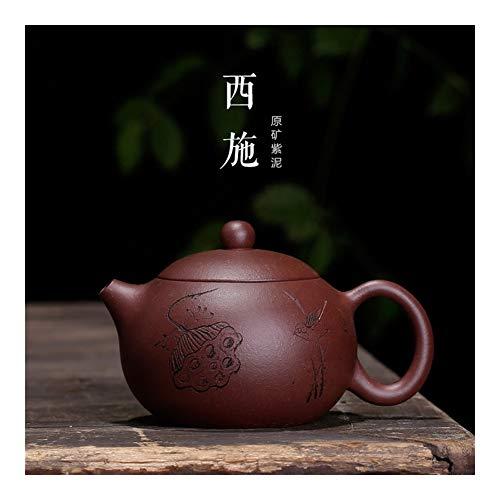 Teapot Tea Cup Purple Clay Pot Suit Beauties Lotus Lotus Hand-Carving The Bird Beauty Money Maker MJZHXM (Color : Red)