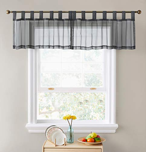 HLC.ME Charcoal Grey Sheer Voile Valance Tab Top Window Treatment Topper Tier Curtain for Kitchen, Bedroom, Small Windows and Bathroom (54 x 18 inch Long, Set of 2)