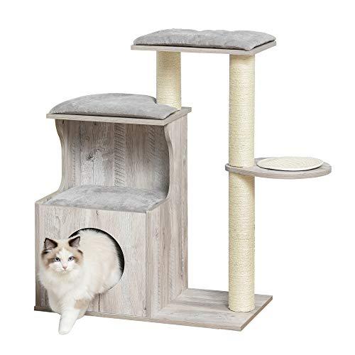 Pawhut Kratzbaum mit Katzenhöhle Katzenbaum Kletterbaum für Katzen E1 MDF Sisal Grau 66 x 38 x 88 cm