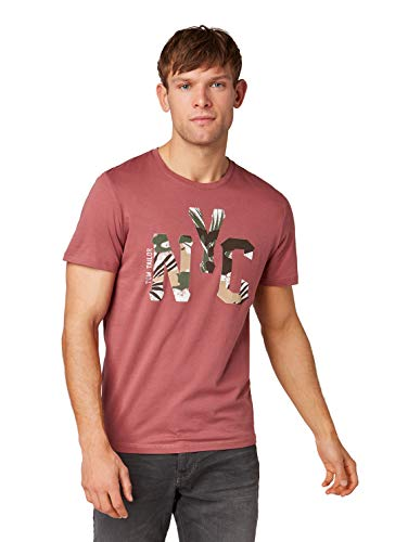 Tom Tailor Casual 1009897 T-Shirt, Rosso (Rouge Red 16520), Large Uomo