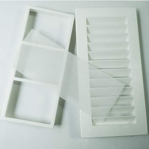 Bricoloco Rejilla de ventilación de plástico rectangular, tipo Shunt, con marco y mosquitera. Especial para baño y cocina. (2)