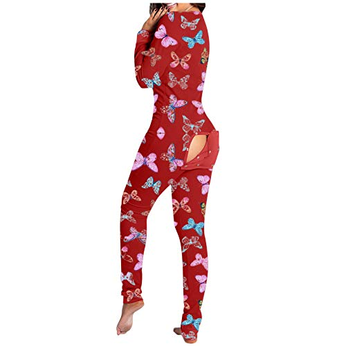 Women Christmas Print One Piece Short Romper Sexy V Neck Long Sleeve Pajamas Button Up Onesies Nightwear Jumpsuit Bodysuit Playsuit Overall Sleepwear (Red B, Large)