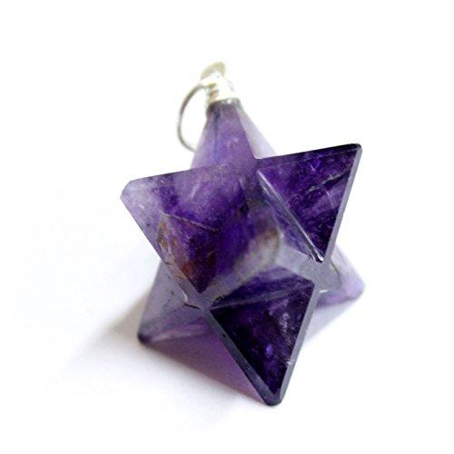 1(una) color morado Amatista Merkaba Star colgante Bañado en plata RP exclusivo COA (am2b11–01)