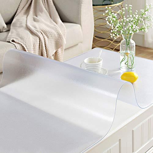 Nappe transparente/revêtement de table de protection en PVC, imperméable/bouclable, couverture de nappe épaisse de 1,0 mm avec table carrée, maison | cuisine | restaurant | comptoir de mariage AA~