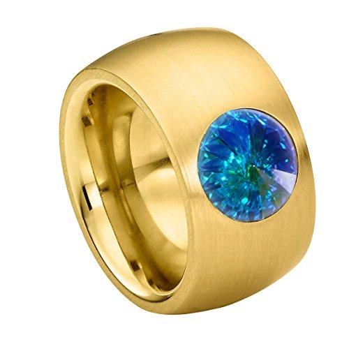 Heideman Ring Damen Coma 14 aus Edelstahl Gold farbend matt Damenring für Frauen mit Swarovski Stein Kristall Aurore boreale Opal im Fantasie Edelsteinschliff 10mm