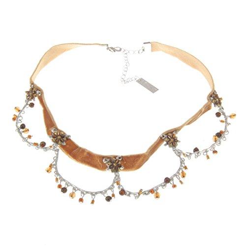 Behave dames bijzondere choker halsketting met parels - onschadelijk metaal - bruin 1-37 cm maat