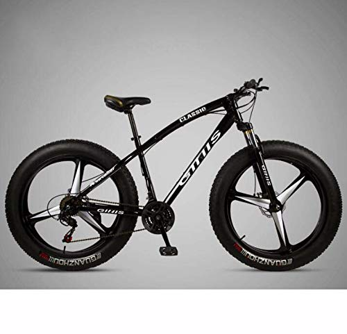 Bicicleta de montaña Bicicleta para adultos, bicicleta MTB Fat Tire de 26 × 4.0 pulgadas, cuadro de acero de alto carbono, horquilla delantera amortiguadora y freno de disco doble,Negro,27 speed