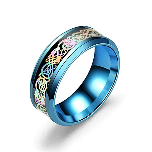 Bishilin Acero Inoxidable Azul Blue Ring Inlay Dragon Filigrana Banda de Punk Retro