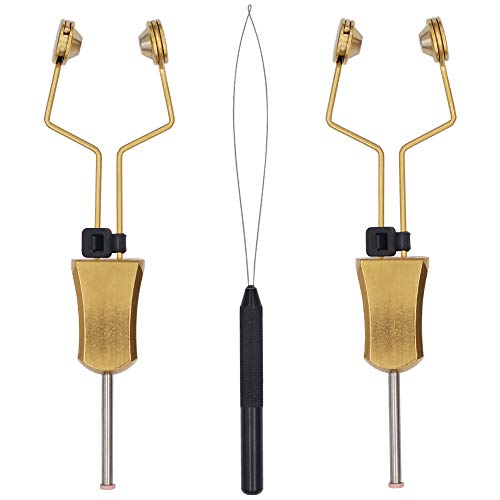 XFISHMAN Fly-Tying-Bobbin-Holder 2 Pack Fly Fishing Ceramic Bobbin with Bobbin Threader Holder Fly Tying Tools Set (Adjustable Tension Bobbin 2 Pack (Golden) with 1 Bobbin Threade)